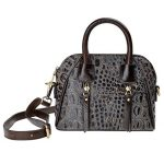 ZLYC Women Fashion Two Tone Genuine Grain Leather Top Handle Mini Satchel Bag (Grey)