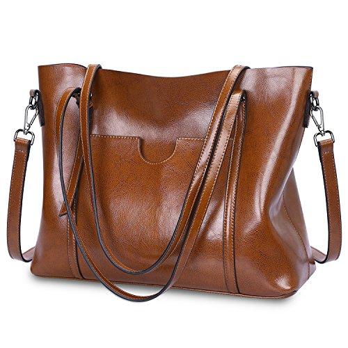 S-ZONE Women Genuine Leather Top Handle Satchel Daily Work Tote Shoulder Bag Large Capacity (Dark Brown)