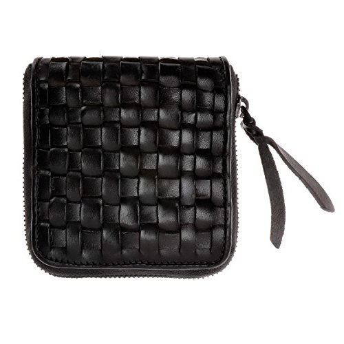 ZLYC Women Vintage Hand Woven Cow Leather Zipper Money Pouch Wallet Card Holder, Black