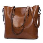 S-ZONE Women Genuine Leather Tote Purse Daily Casual Shoulder Bag Large Capacity (Dark Brown)