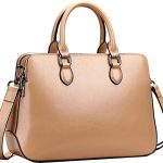 Heshe Leather Womens Handbags Totes Top Handle Bags Shoulder Bag Satchels for Ladies with Long Cross Body Strap Structured Designer Purses (Cracker Khaki-r)