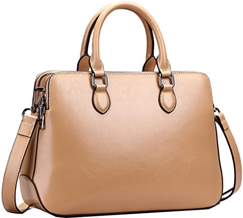 b2ead967dd Heshe Leather Womens Handbags Totes Top Handle Bags Shoulder Bag Satchels  for Ladies with Long Cross Body Strap Structured Designer Purses (Cracker  Khaki-r)