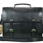 Leftover Studio Double Pocket Messenger Bag / Satchel / Briefcase /Shoulder Bag in Black Top Grain Cow Leather