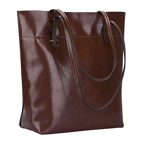 S-ZONE Vintage Genuine Leather Tote Shoulder Bag Handbag Big Large Capacity Upgraded Version (Coffee)