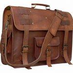 Handolederco. 19 inch leather messenger bags for men women men's briefcase laptop bag best computer shoulder satchel distressed bag