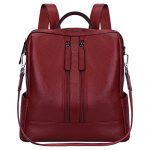 S-ZONE Lightweight Women Genuine Leather Backpack Casual Shoulder Bag Purse (Wine Red)