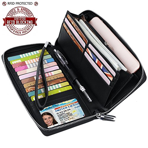 YALUXE Women's RFID Blocking Security Large Wristlet Leather Wallet with Phone Pocket