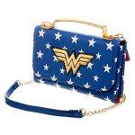 DC Comics Wonder Woman Crossbody Wallet Clutch, Blue/White