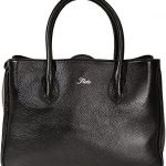 Floto Roma Shopper Tote Bag in Black Italian Calfskin Pebbled Leather