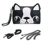 BMC Cute Animal Dog Puppy Face Purse for Girls Teens Women - 3 Detachable Straps for Crossbody Bag Clutch Wristlet Shoulder Handbag - PU Faux Leather - Black / White Boston Terrier Design