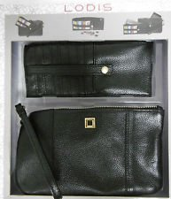 Lodis Olivia Italian Leather Wristlet & Card Stacker, BLACK