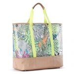 Sakroots Seville Tote Leather Trim NEON WILD LIFE