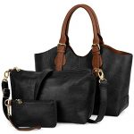 UTO Women Handbag Set 3 Pieces Bag PU Leather Tote Small Shoulder Purse Bags Wallet Strap