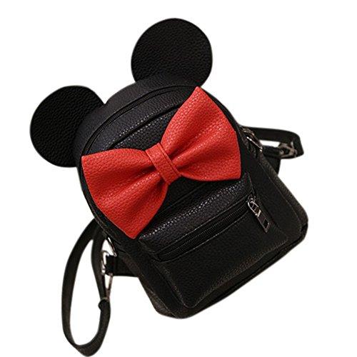 Femmes élégantes Mini sac à dos en cuir PU avec oreilles de souris mignonnes et sacs à dos d'école Bowknot sac à bandoulière pour filles