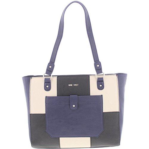 Nine West Womens Those Pockets Faux Leather Colorblock Tote Handbag