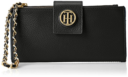 Tommy Hilfiger Th Double Zip Leather Wristlet