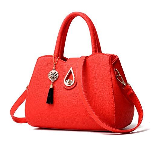 Tassel Handbag, Among Fashion Women Lichee Pattern Crossbody Bag Solid Color Versatile Shoulder Bag Messenger Bag