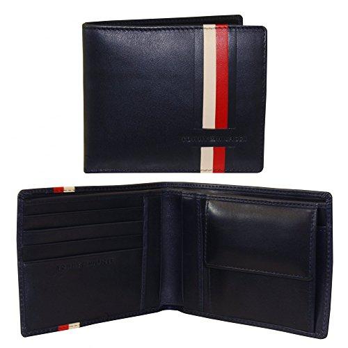 Tommy Hilfiger Icons Stripe Leather Credit Card & Coin-Pocket Wallet, Dark Navy