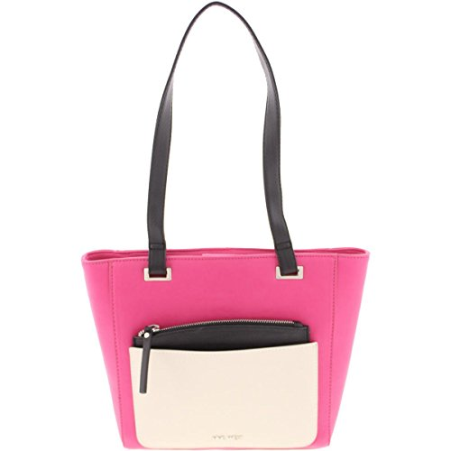 Nine West Womens Horina Faux Leather Colorblock Tote Handbag