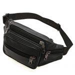 Genuine Soft Leather Fanny Pack Waist Bag 6 Pockets Adjustable Belt Strap Travel Pouch