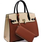 Deluxity LARGE Carry-all Padlock Accent Tote w/ Strap + Wallet- Tan/Beige
