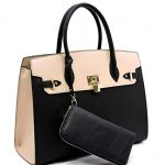 Deluxity Large Padlock Accent Structured Business Satchel +Wallet- Black/Beige