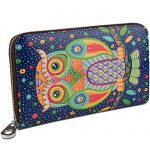 YALUXE Women's Owl Print Real Leather Large Clutch Wallet for Card Phone Passport Checkbook