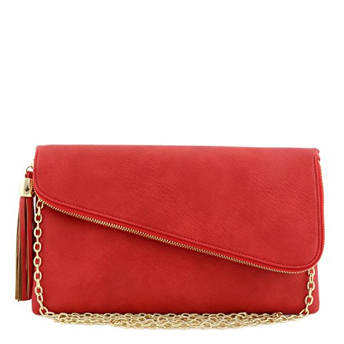 Large Envelope Tassel Accent Wristlet Clutch Bag with Chain Strap