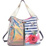 Nicole Lee Colorful Rose Stripe Print Hobo with Zipper Decor