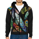 Colorful Feathers Funky Pullover Hooded Sweatshirts Running Jackets Zippered Closure Hoodies For Men