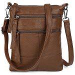 UTO Women Small Crossbody Bag Roomy 5 Zip Pockets Cell Phone iPad-Mini Kindle Holder Shoulder Purse Wallet Bags