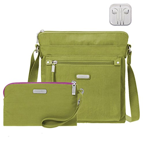 Baggallini Go Crossbody Bag, RFID Wristlet, Bundle with complimentary Travel Earphones (Spring Green)