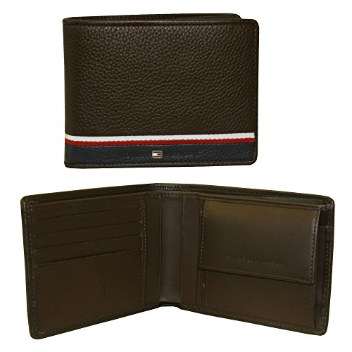 Tommy Hilfiger Corporate Coin-Pocket Leather Men's Wallet, Dark Brown