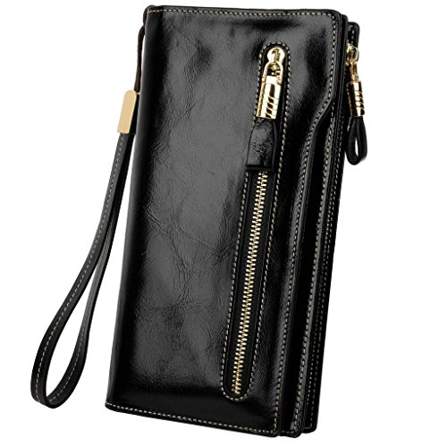 YALUXE Women's Large Capacity Luxury Waxed Leather Wristlet Wallet With Zipper Pocket