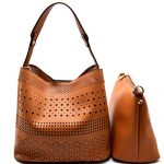 New! Isabelle Laser-Cut Detail 2-in-1 Tote w/ Snap-in Pull-out Crossbody -Brown