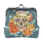 Blue Viper Colorful Skull And Flowers Leather Coin Purse Mini Pouch Change Wallet Clutch Handbag