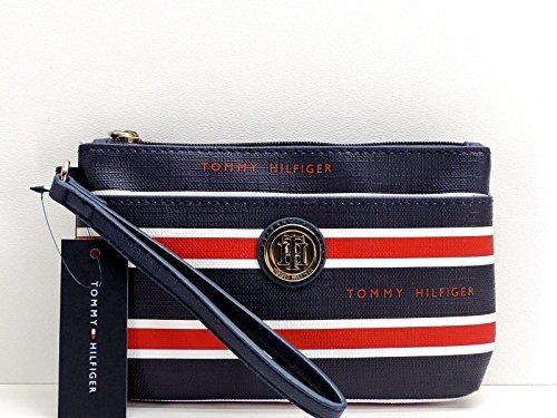Tommy Hilfiger Wristlet Blue Red White Stripe Top Zip Clutch