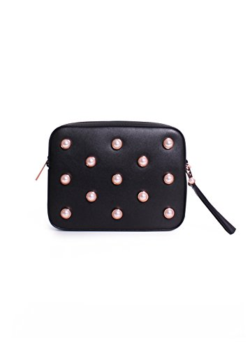 Ted Baker London Alessia Leather Faux Pearl Embellished Camera Bag in Black