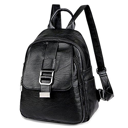 f002a4ee67 UTO Women Backpack Front Belt Purse PU Washed Leather Ladies Rucksack  Shoulder Bag