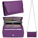 YALUXE Women's RFID Blocking Security Leather Smartphone Wristlet Crossbody Clutch Wallet Purple