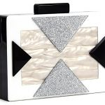 Funky Junque's Square Box Clutch Chain Strap Crossbody Purse Evening Handbag Bag