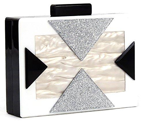 Funky Junque's Square Box Clutch Chain Strap Crossbody Purse Evening Handbag Bag