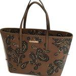 Michael Kors Emry Luggage Cocoa Browns Paisley Saffiano Leather Large Tote Handbag Shoulder Bag