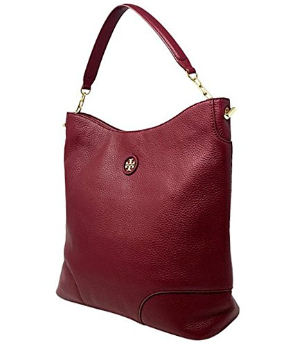 Tory Burch Red Agate Whipstitch Pebbled Leather Logo Hobo Leather Handbag