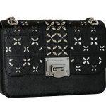 MICHAEL Michael Kors Women's TINA Medium Shoulder Flap Leather Evening Studded Handbag (Black)