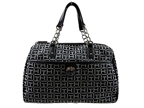Tommy Hilfiger Black White Satchel Handbag Bowler TH Logo Monogram