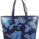 Michael Kors Emry Admiral Blue Paisley Saffiano Leather Large Tote Handbag Shoulder Bag