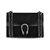 RACHEL Italian clutch shoulder crossbody chain bag, designer handbag, evening purse, suede flap bag, fashion tote, suede genuine leather