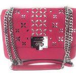 MICHAEL Michael Kors Women's TINA Medium Shoulder Flap Leather Evening Studded Handbag (Ultra pink)