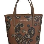 Michael Kors Emry Admiral Brown Paisley Printed Saffiano Leather Medium Size Tote Shoulder Bag Handbag